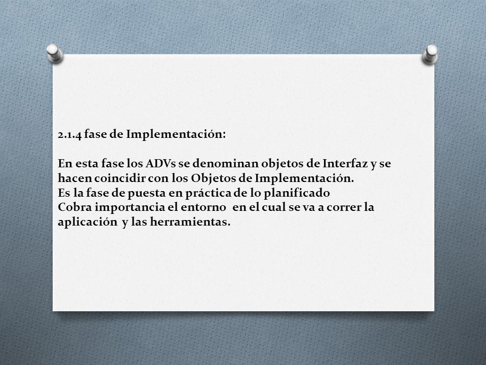 2.1.4 fase de Implementación: En esta fase los ADVs se denominan objetos de Interfaz y se hacen coincidir con los Objetos de Implementación.
