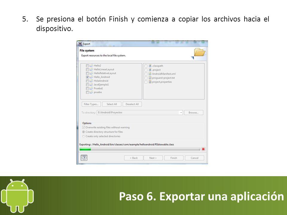Paso 6. Exportar una aplicación