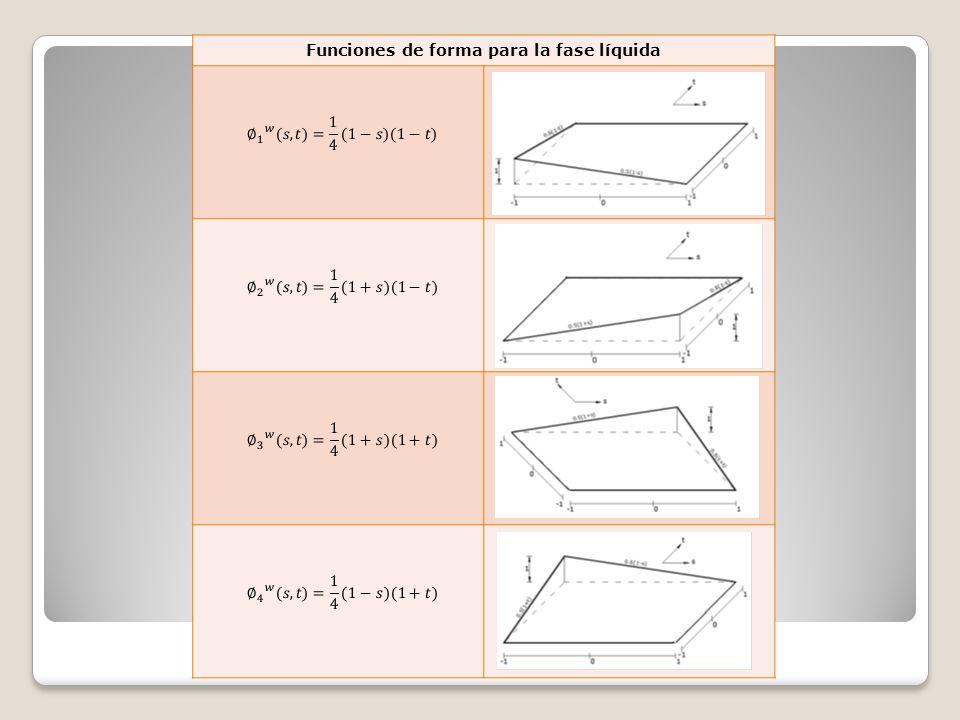 Funciones de forma para la fase líquida