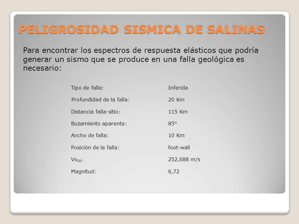 PELIGROSIDAD SISMICA DE SALINAS
