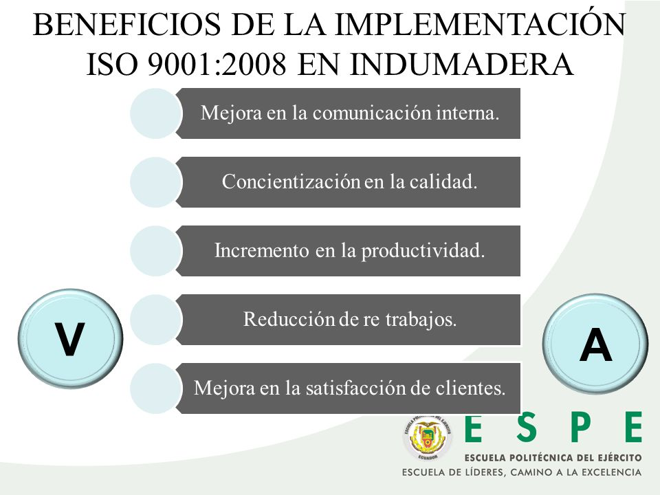 V A BENEFICIOS DE LA IMPLEMENTACIÓN ISO 9001:2008 EN INDUMADERA