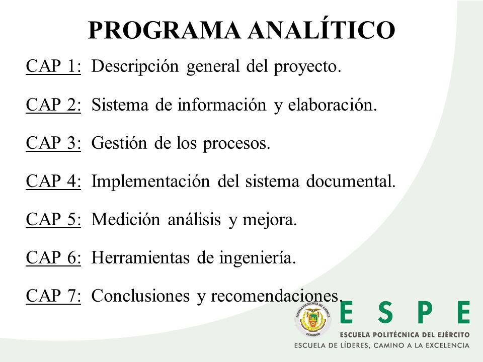 PROGRAMA ANALÍTICO CAP 1: Descripción general del proyecto.