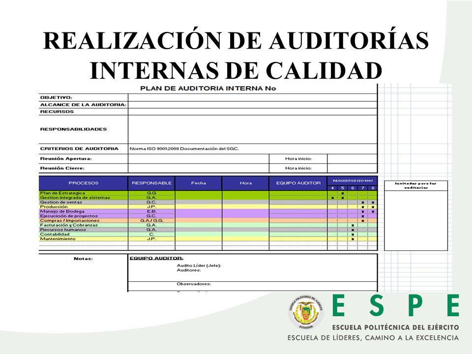 REALIZACIÓN DE AUDITORÍAS INTERNAS DE CALIDAD