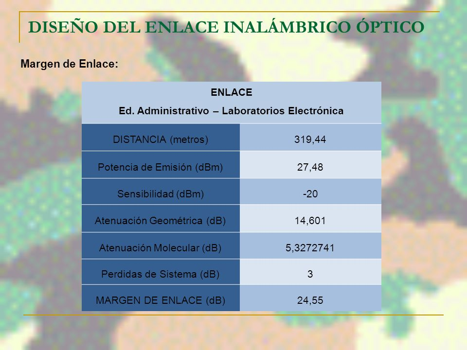 DISEÑO DEL ENLACE INALÁMBRICO ÓPTICO