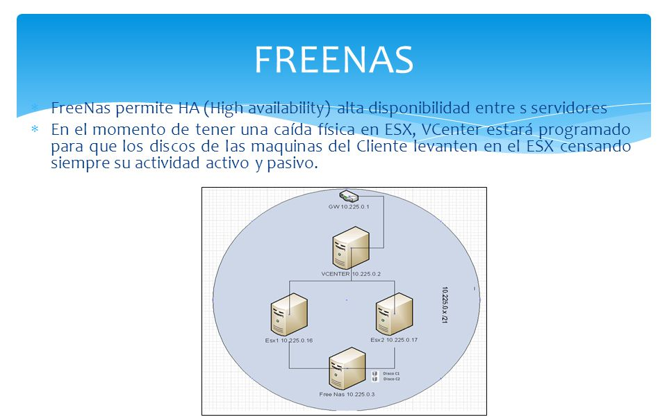 FREENAS FreeNas permite HA (High availability) alta disponibilidad entre s servidores.