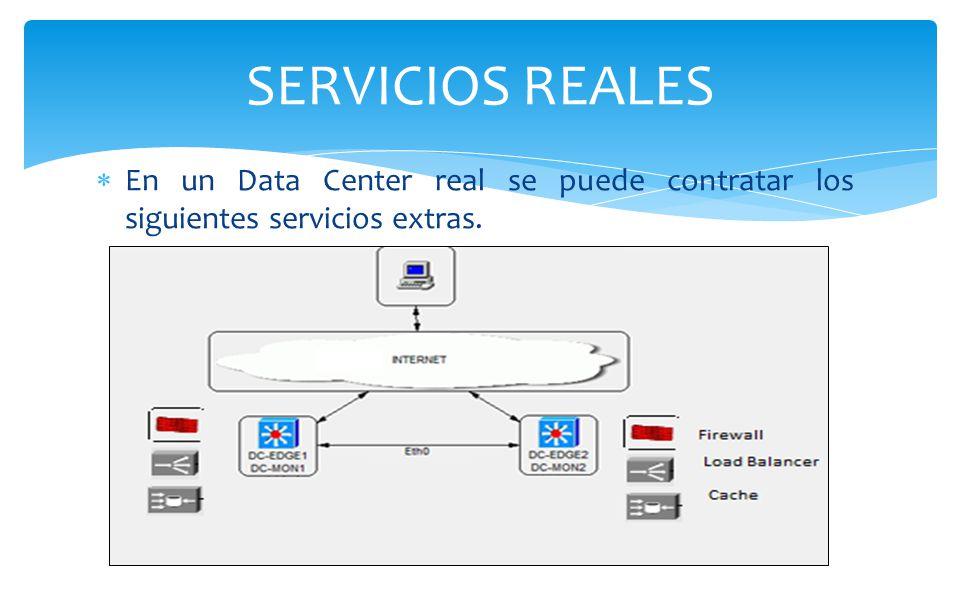 SERVICIOS REALES En un Data Center real se puede contratar los siguientes servicios extras.