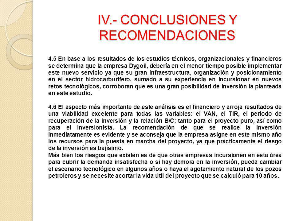 IV.- CONCLUSIONES Y RECOMENDACIONES