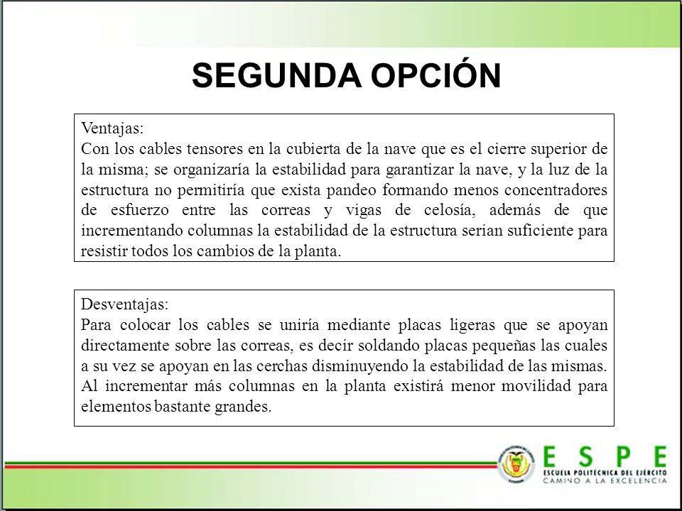 Segunda opción Ventajas: