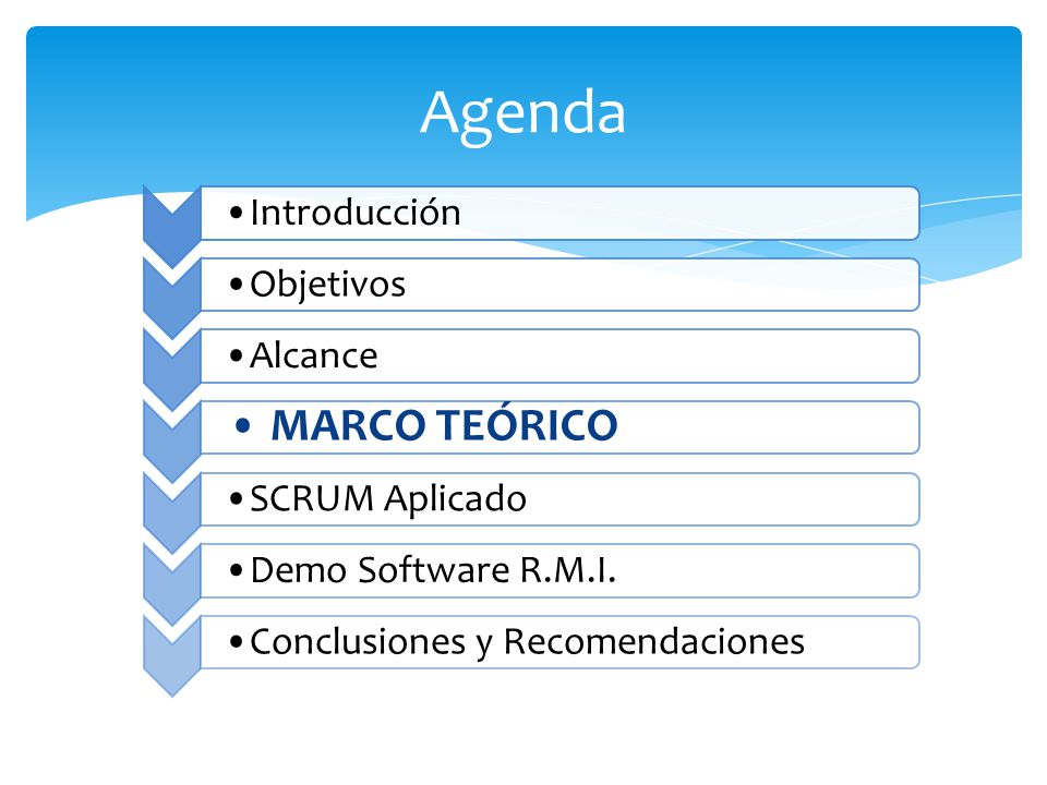 Agenda Introducción. Objetivos. Alcance. MARCO TEÓRICO. SCRUM Aplicado. Demo Software R.M.I. Conclusiones y Recomendaciones.