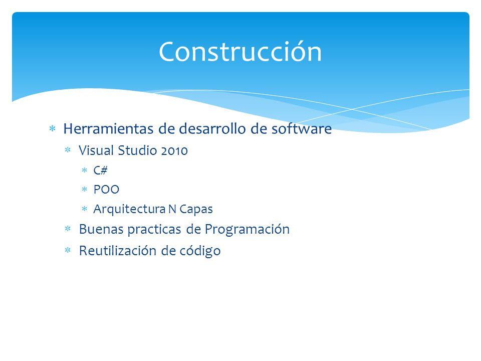 Construcción Herramientas de desarrollo de software Visual Studio 2010