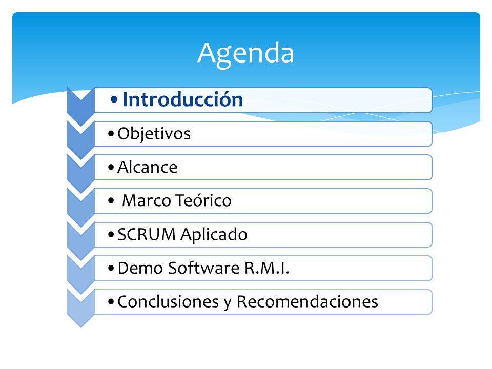 Agenda Introducción Objetivos Alcance Marco Teórico SCRUM Aplicado