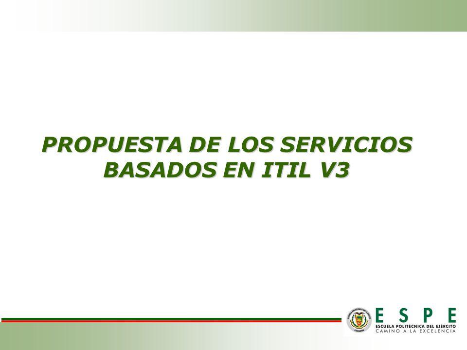 PROPUESTA DE LOS SERVICIOS BASADOS EN ITIL V3