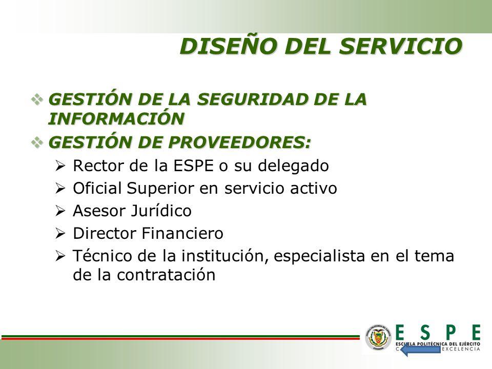 DISEÑO DEL SERVICIO GESTIÓN DE LA SEGURIDAD DE LA INFORMACIÓN