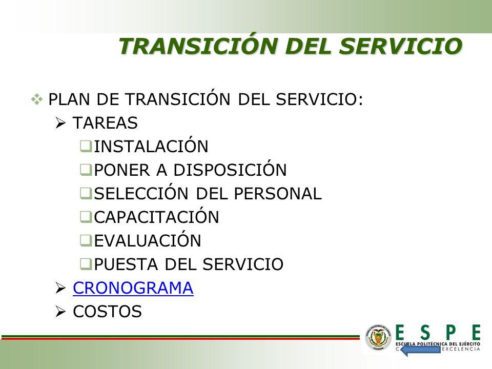 TRANSICIÓN DEL SERVICIO
