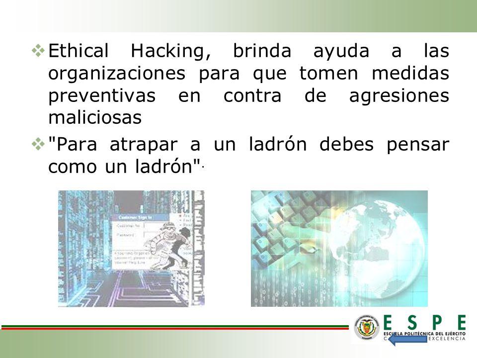 Ethical Hacking, brinda ayuda a las organizaciones para que tomen medidas preventivas en contra de agresiones maliciosas