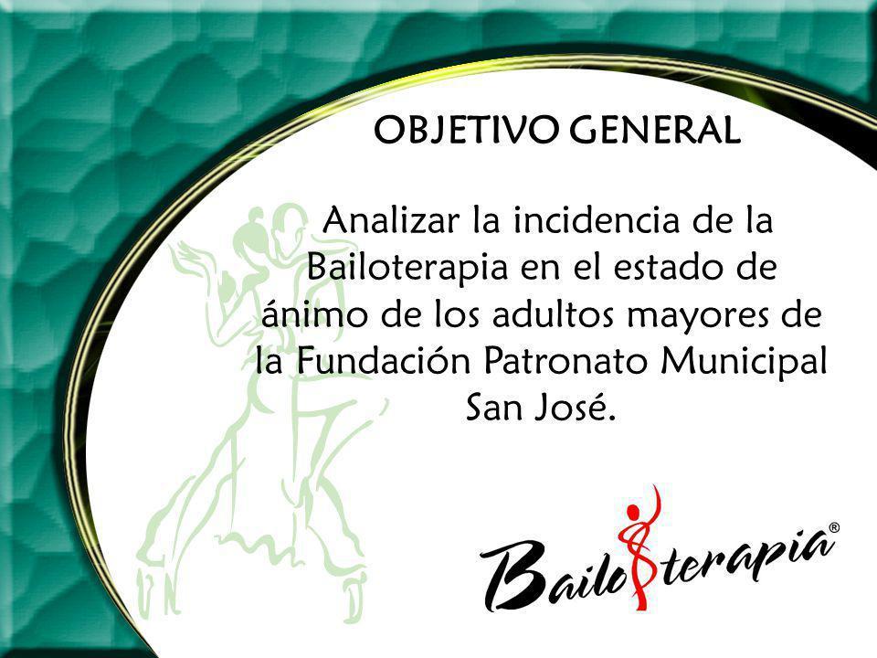 OBJETIVO GENERAL Analizar la incidencia de la Bailoterapia en el estado de ánimo de los adultos mayores de la Fundación Patronato Municipal San José.
