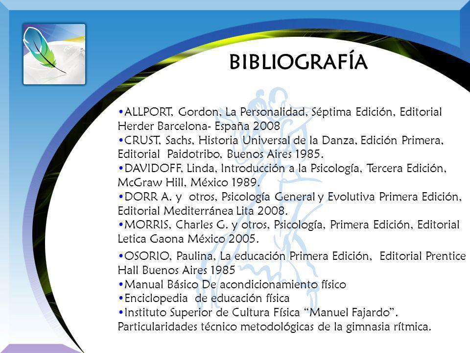 BIBLIOGRAFÍA ALLPORT, Gordon, La Personalidad, Séptima Edición, Editorial Herder Barcelona- España 2008.