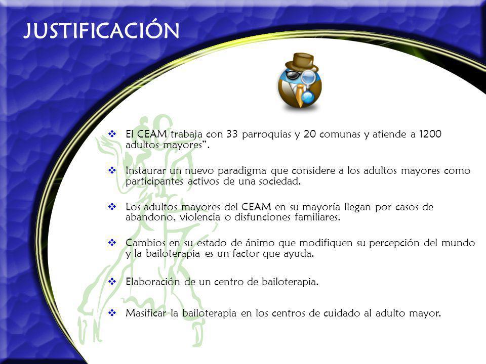 JUSTIFICACIÓN El CEAM trabaja con 33 parroquias y 20 comunas y atiende a 1200 adultos mayores .