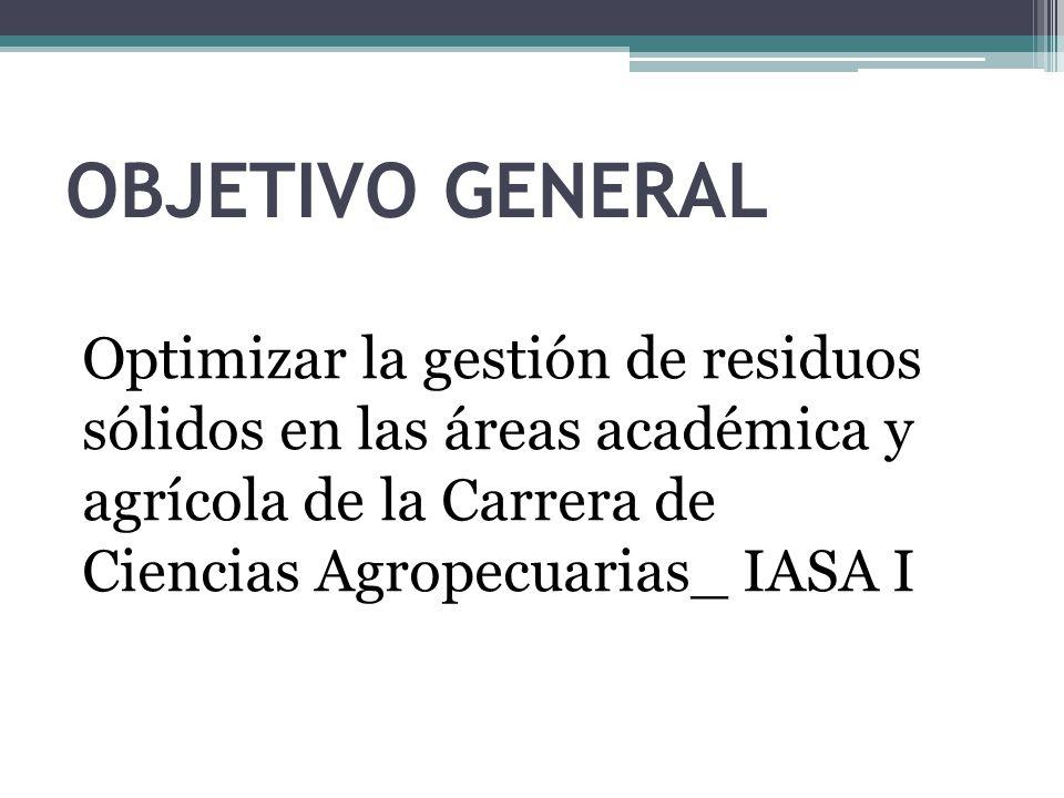 OBJETIVO GENERAL Optimizar la gestión de residuos sólidos en las áreas académica y agrícola de la Carrera de Ciencias Agropecuarias_ IASA I.