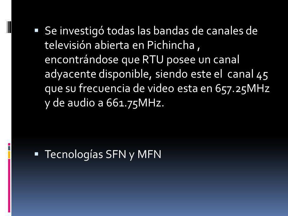 Se investigó todas las bandas de canales de televisión abierta en Pichincha , encontrándose que RTU posee un canal adyacente disponible, siendo este el canal 45 que su frecuencia de video esta en 657.25MHz y de audio a 661.75MHz.