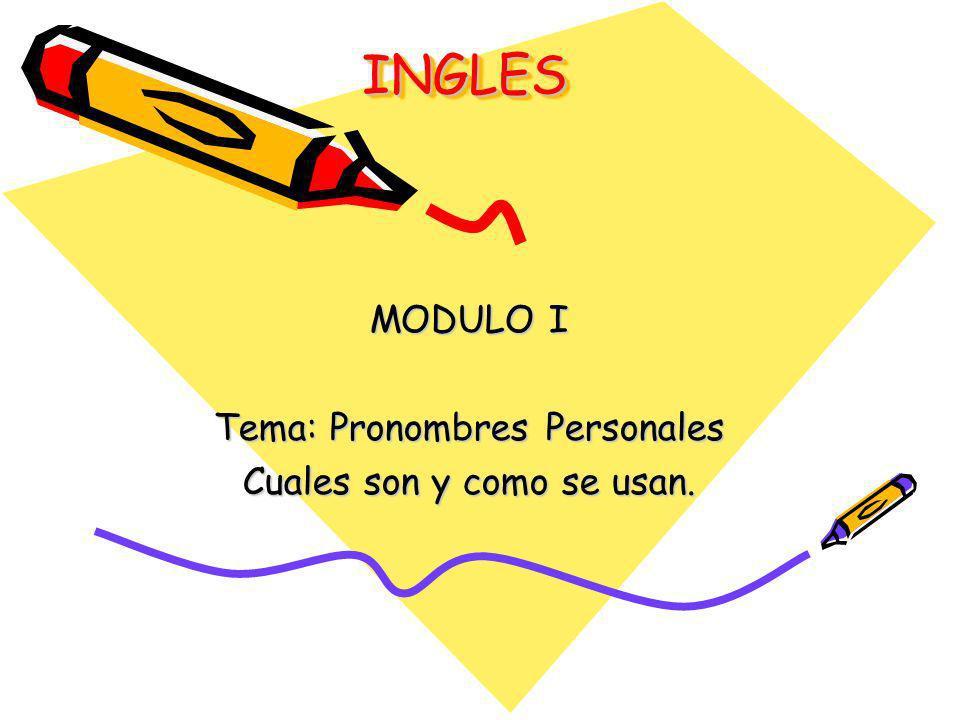 MODULO I Tema: Pronombres Personales Cuales son y como se usan.