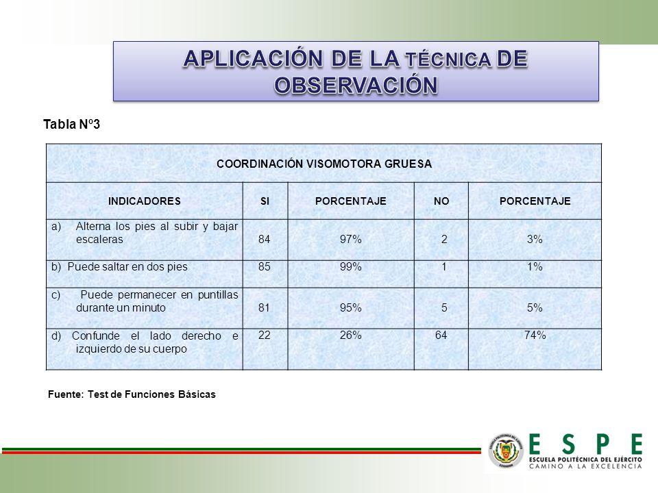 APLICACIÓN DE LA TÉCNICA DE OBSERVACIÓN COORDINACIÓN VISOMOTORA GRUESA