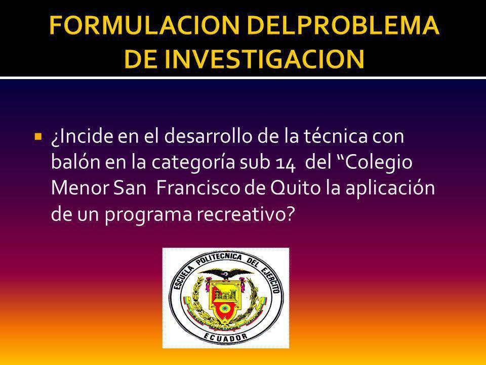 FORMULACION DELPROBLEMA DE INVESTIGACION