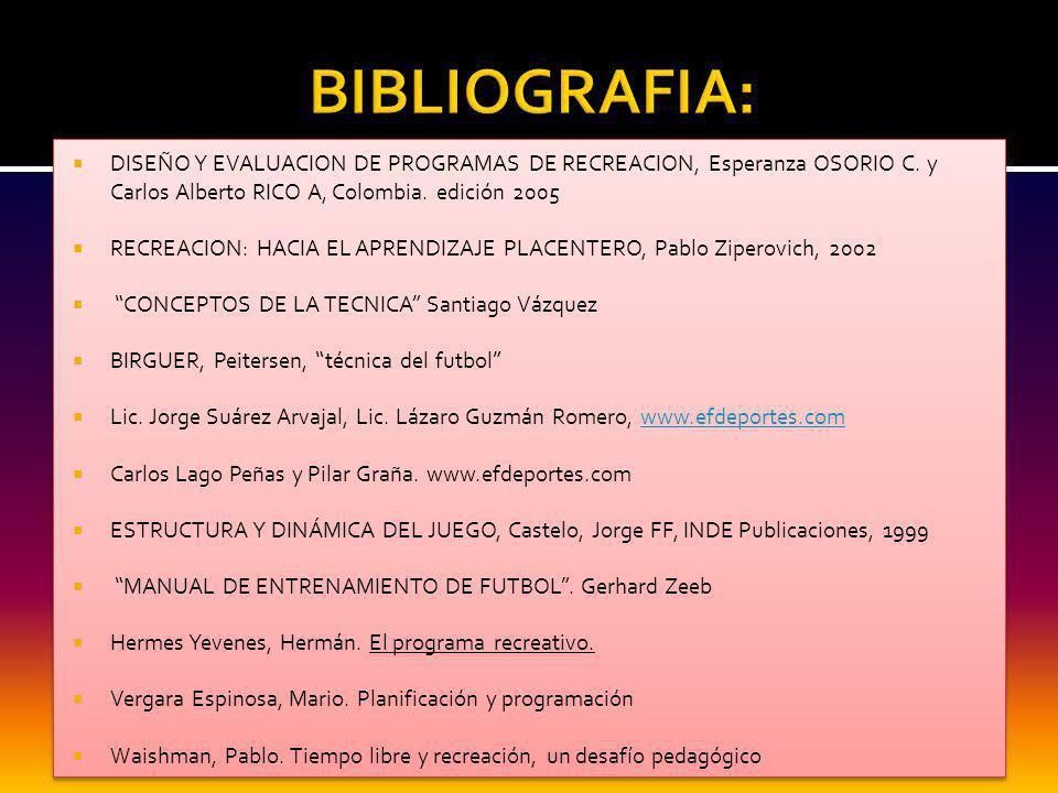 BIBLIOGRAFIA: DISEÑO Y EVALUACION DE PROGRAMAS DE RECREACION, Esperanza OSORIO C. y Carlos Alberto RICO A, Colombia. edición 2005.