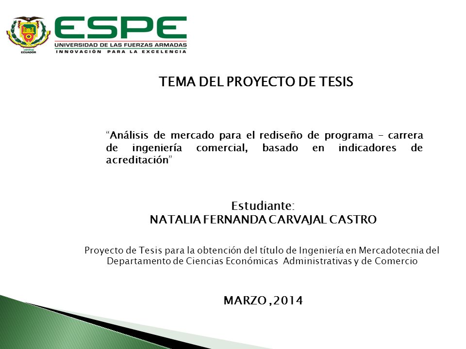TEMA DEL PROYECTO DE TESIS NATALIA FERNANDA CARVAJAL CASTRO