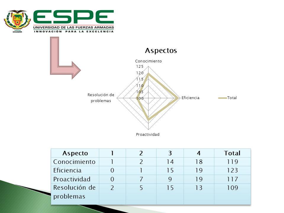 Aspecto 1. 2. 3. 4. Total. Conocimiento. 14. 18. 119. Eficiencia. 15. 19. 123. Proactividad.