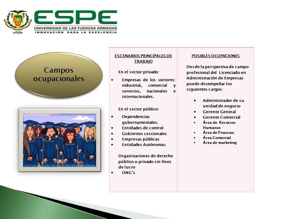 ESCENARIOS PRINCIPALES DE TRABAJO