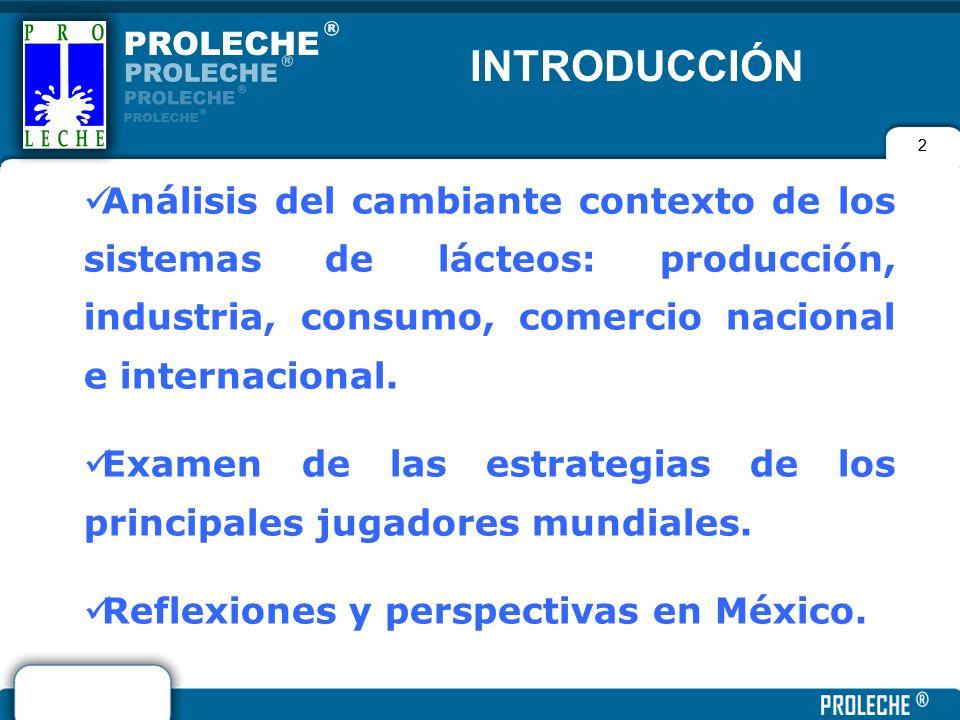 INTRODUCCIÓN 2. Análisis del cambiante contexto de los sistemas de lácteos: producción, industria, consumo, comercio nacional e internacional.