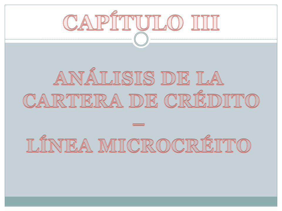 CAPÍTULO III ANÁLISIS DE LA CARTERA DE CRÉDITO – LÍNEA MICROCRÉITO