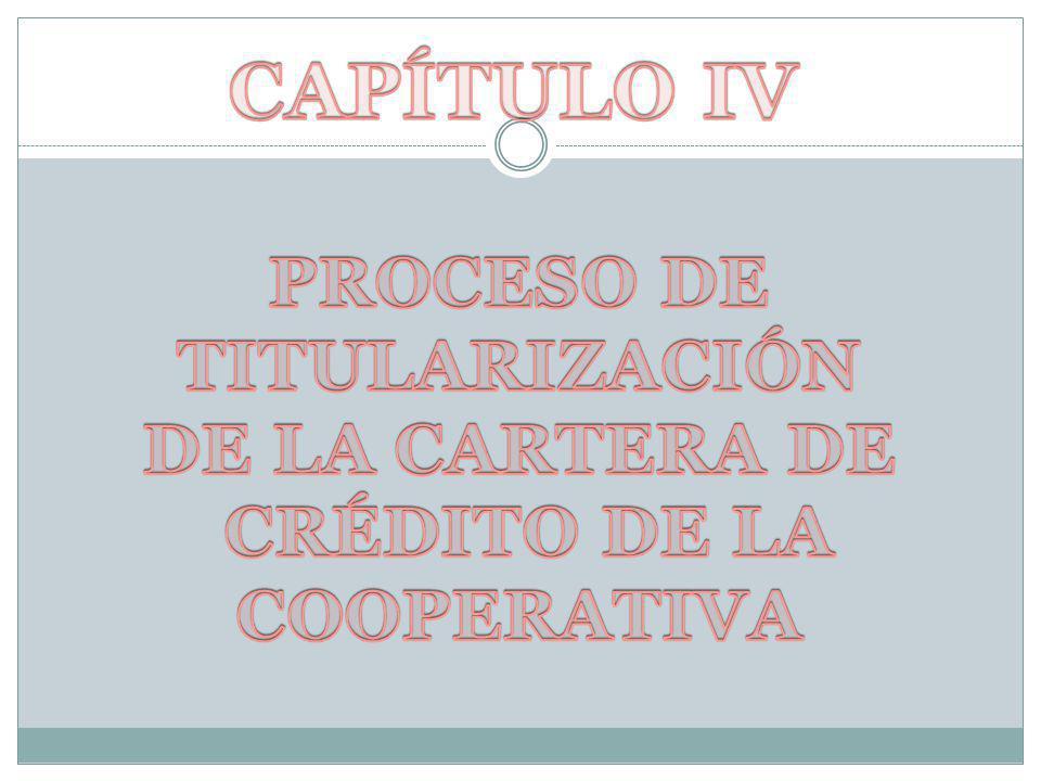 PROCESO DE TITULARIZACIÓN CRÉDITO DE LA COOPERATIVA