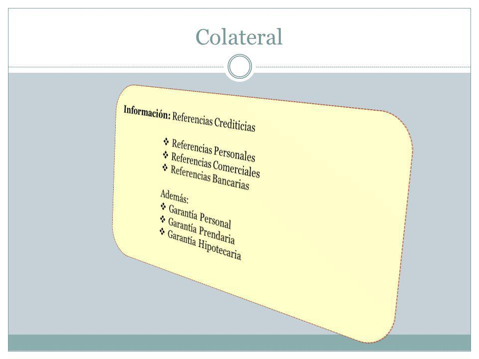 Colateral Información: Referencias Crediticias Referencias Personales