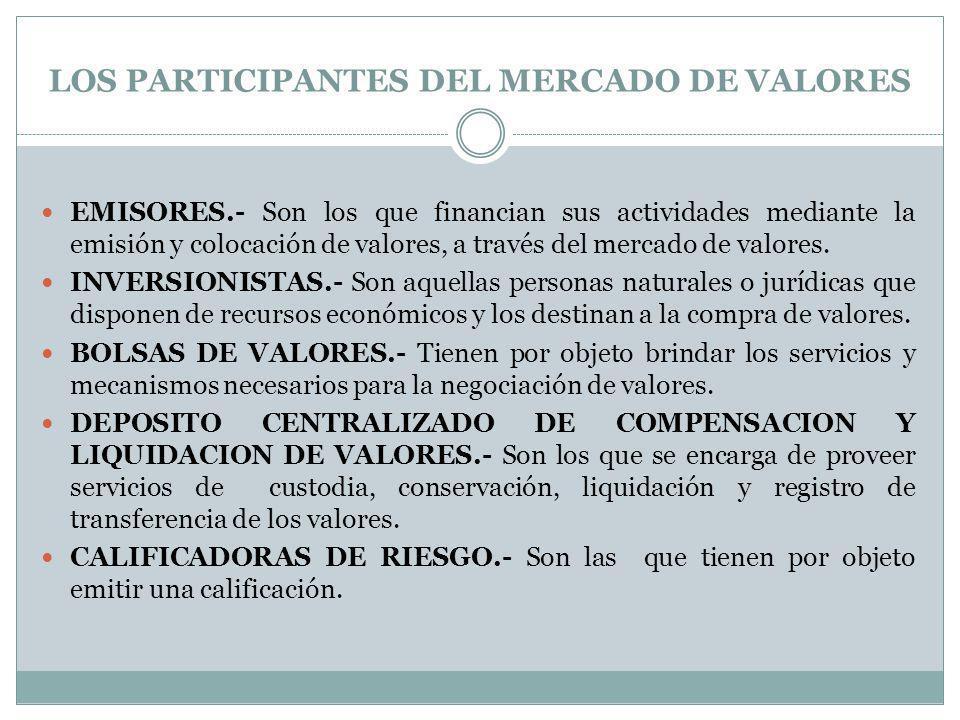 LOS PARTICIPANTES DEL MERCADO DE VALORES