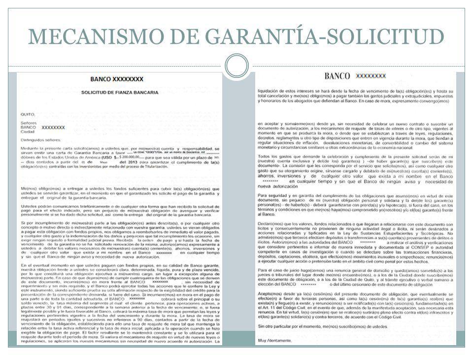 MECANISMO DE GARANTÍA-SOLICITUD