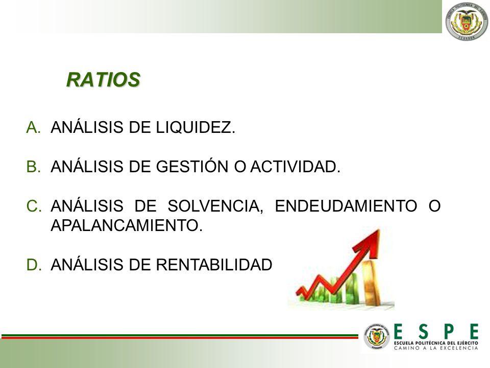 RATIOS ANÁLISIS DE LIQUIDEZ. ANÁLISIS DE GESTIÓN O ACTIVIDAD.
