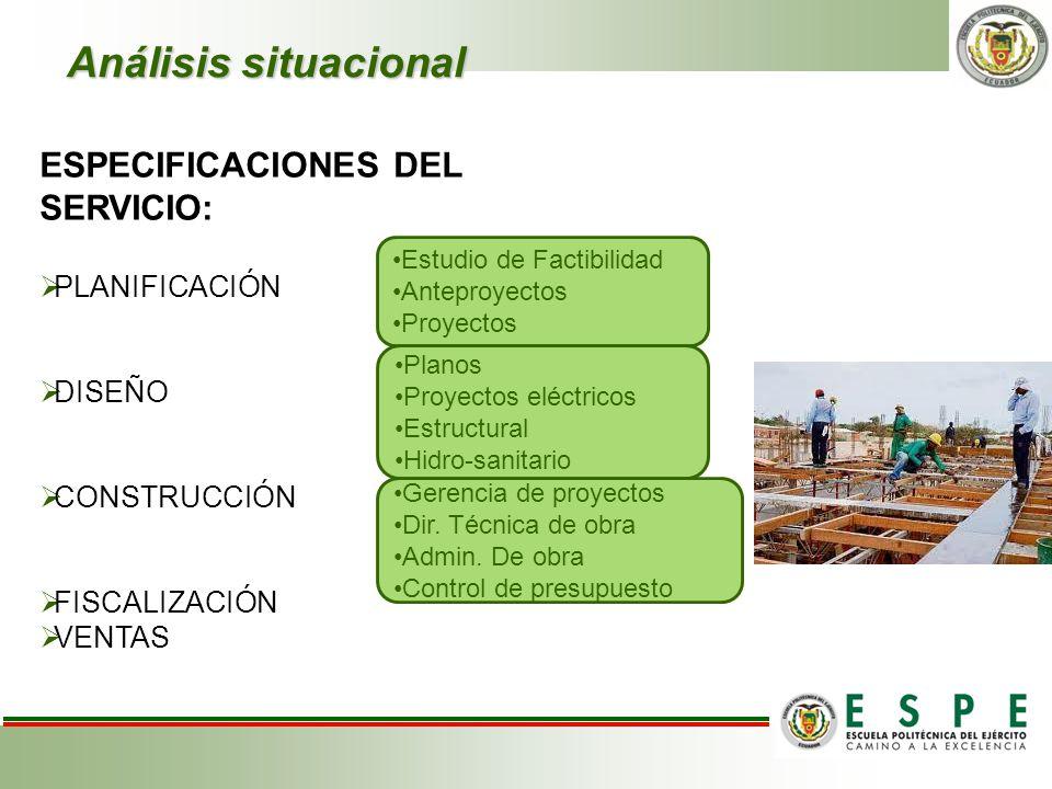Análisis situacional ESPECIFICACIONES DEL SERVICIO: PLANIFICACIÓN