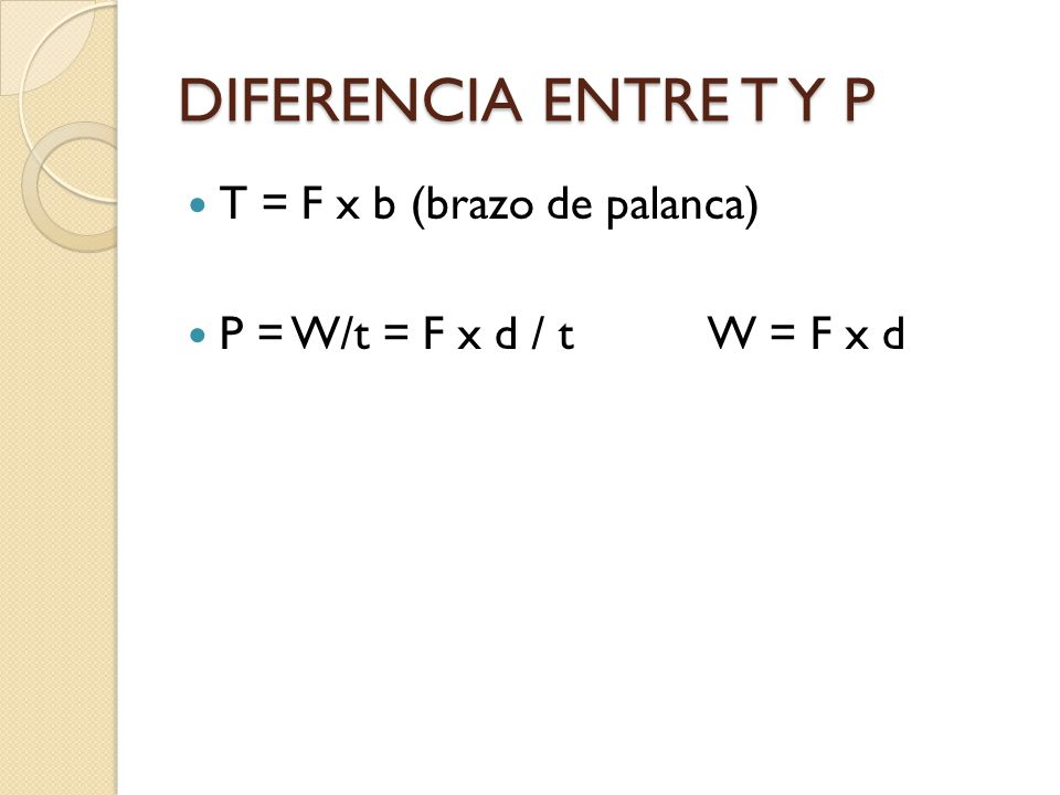 DIFERENCIA ENTRE T Y P T = F x b (brazo de palanca)