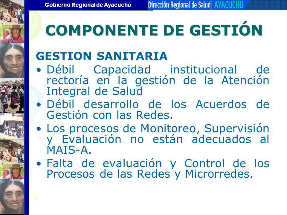 COMPONENTE DE GESTIÓN GESTION SANITARIA