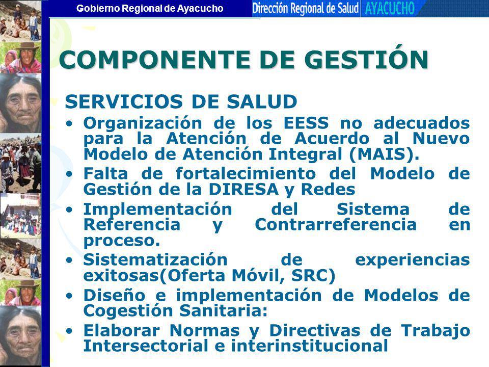 COMPONENTE DE GESTIÓN SERVICIOS DE SALUD