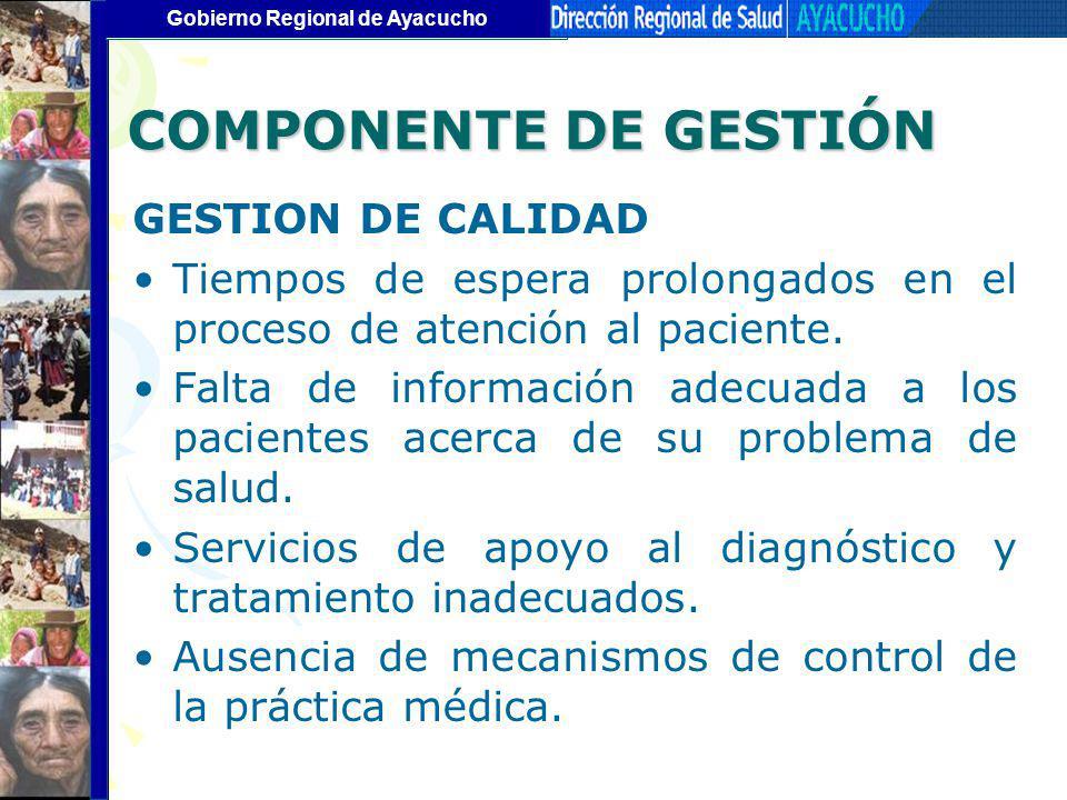 COMPONENTE DE GESTIÓN GESTION DE CALIDAD