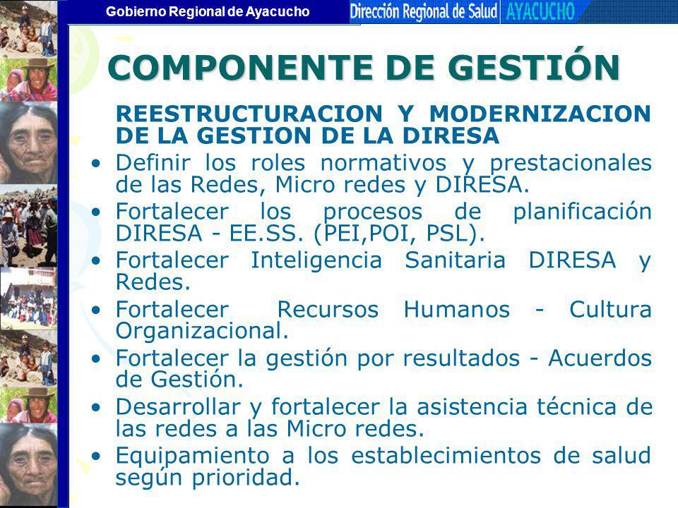 COMPONENTE DE GESTIÓN REESTRUCTURACION Y MODERNIZACION DE LA GESTION DE LA DIRESA.