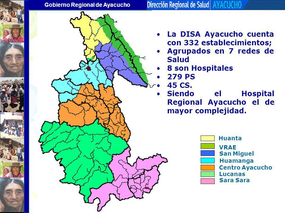 La DISA Ayacucho cuenta con 332 establecimientos;