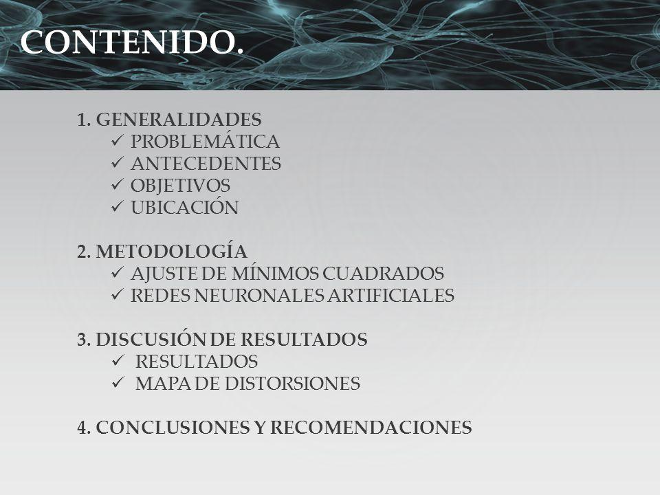 CONTENIDO. 1. GENERALIDADES PROBLEMÁTICA ANTECEDENTES OBJETIVOS