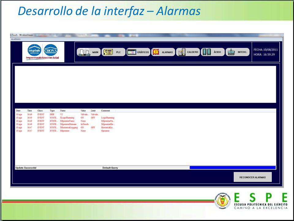 Desarrollo de la interfaz – Alarmas