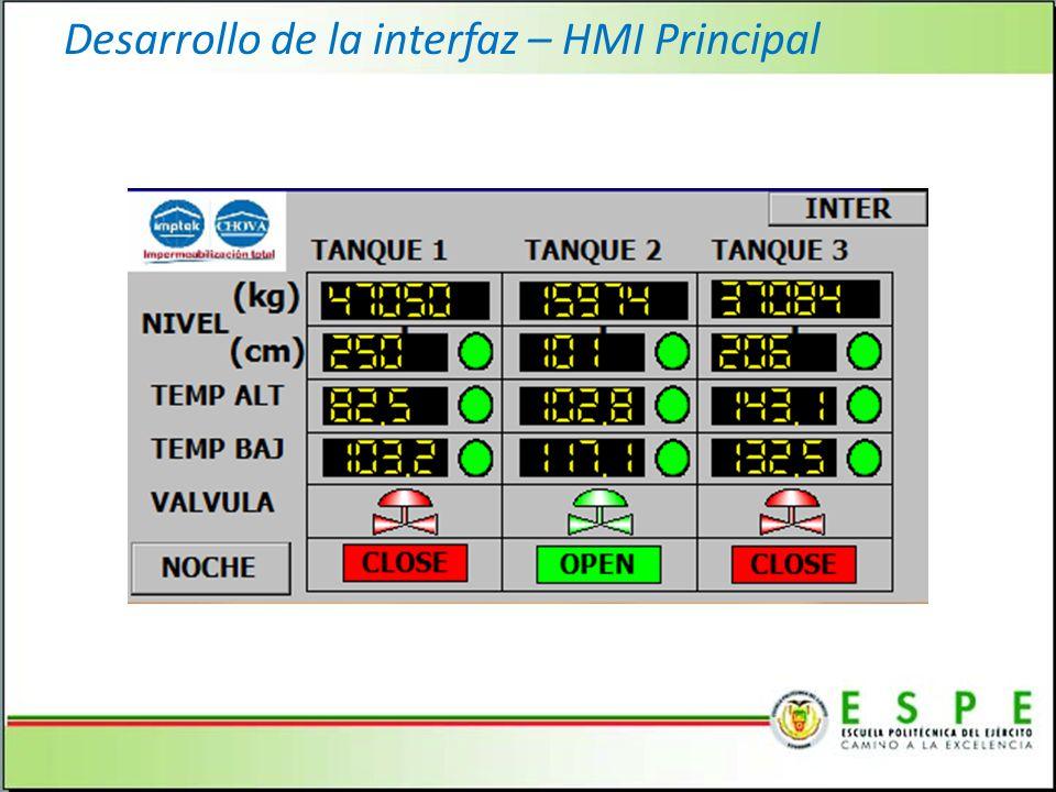 Desarrollo de la interfaz – HMI Principal