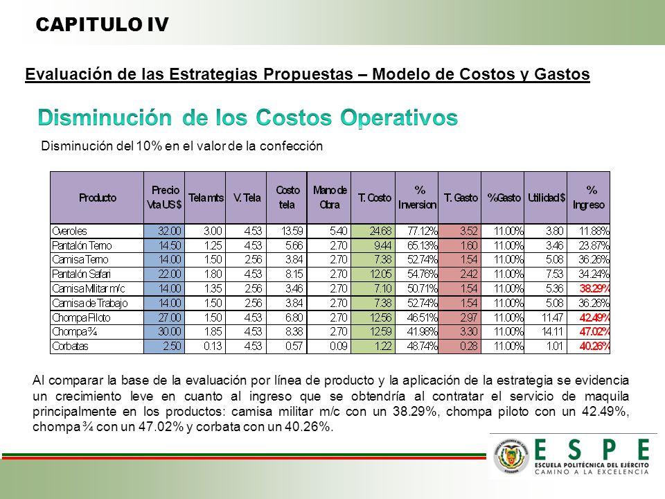 Disminución de los Costos Operativos