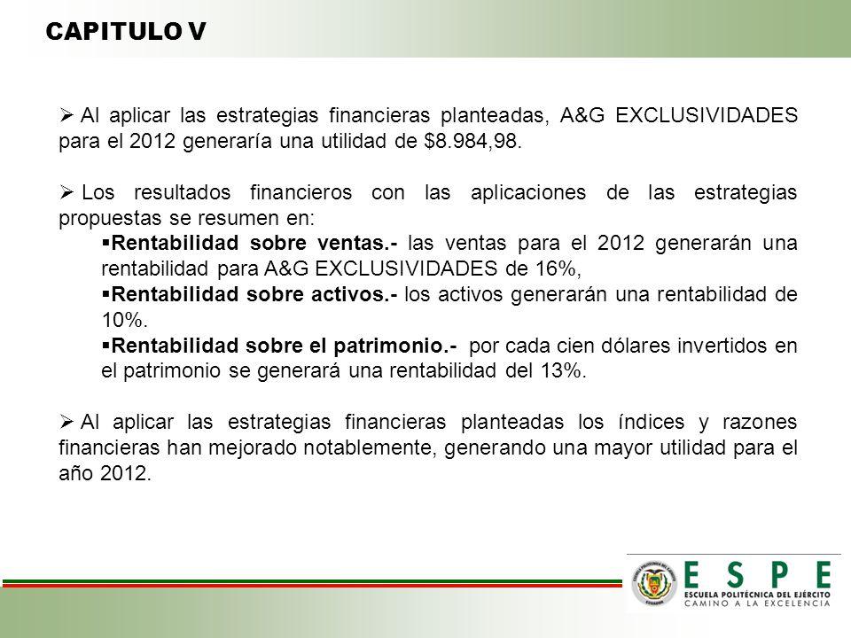 CAPITULO V Al aplicar las estrategias financieras planteadas, A&G EXCLUSIVIDADES para el 2012 generaría una utilidad de $8.984,98.